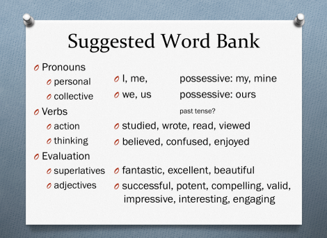 suggested word bank