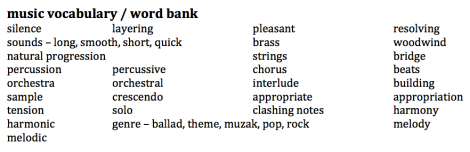 music vocab : word bank