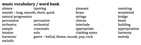 music vocab : word bank