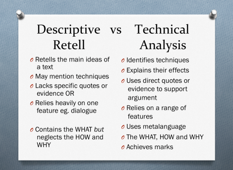 descriptive retell vs technical analysis