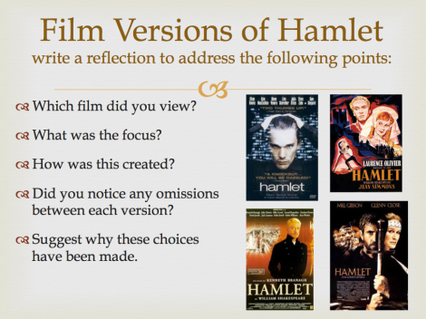 Hamlet exploring film versions