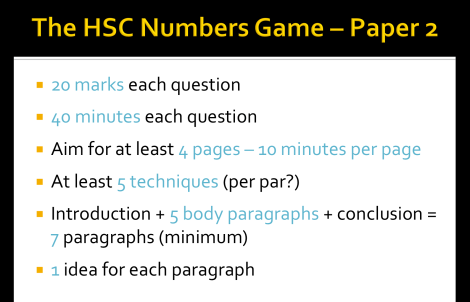 HSC numbers game