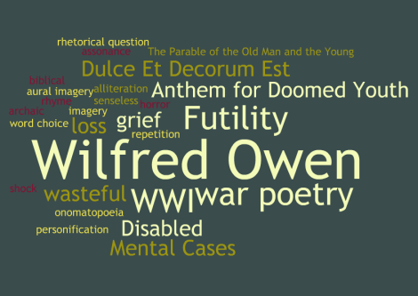war poetry wilfred owen essay Analysis of exposure by wilfred owen 'exposure' is a poem written by a world war i poet wilfred owen the title is a summary of how soldiers are mentally stripped of human dignity because they are exposed to the elements of war.